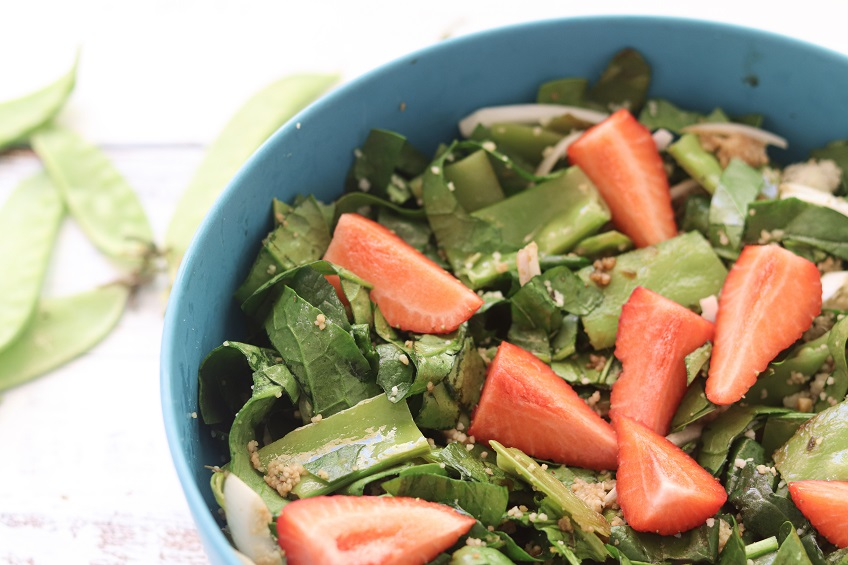 Receita de Salada de Ervilhas Tortas e Espinafres