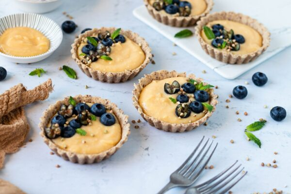 Mini Tartes de Lemon Curd e Mirtilos